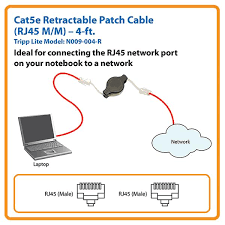 amazon com tripp lite cat5e retractable patch cable 4 ft n009 view larger