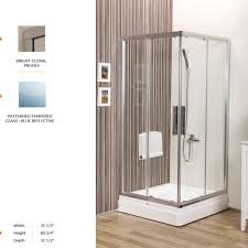 deluxe square shower door 31 1 2 80 3 4 31 1 2 2 fixed 2 sliding panel patterned tempered glass blue reflective