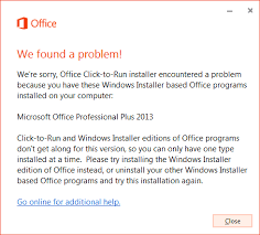 Office installed with Click-to-Run and Windows Installer on same ...