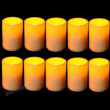 2x flickering flameless resin pillar led candle lights w timer for wedding party 930841126226