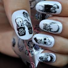 Nail Art Skull Design Us 0 9 17 Off Halloween Design Zombie Skull Bone Nail Art Transfer Foils Stickers 100cmx4cm Polish Glue Nail Decal Easy Diy Shine Sy678 In Stickers