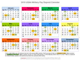 Military Retirement Pay Chart 2020 2019 And 2020 Usaa Military Pay Deposit Dates With