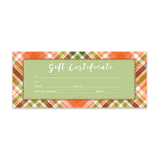Fall Plaid Fall Blank Gift Certificate Gift Certificate Download