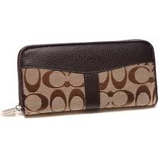 Coach Legacy Signature Large Coffee Wallets DUS