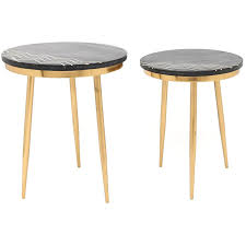 zuo rumi 2 piece faux marble top round accent table set in black a11568