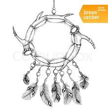 Drawn Dream Catchers Ethnic dream catcher from two elks horns with feathers American 84