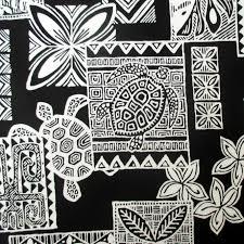 Fabric Hawaiian Sea Turtle Honu Tattoo Blocks In Black Polynesian Tapa By The Yard
