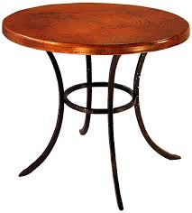 mexican copper inlaid small round classic dining table