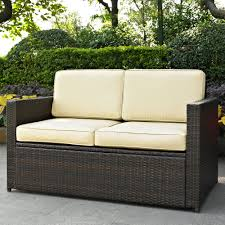 ... Outdoor:Simple Natural Wicker Cushioned Storage Seat Dual Purpose  Storage Unit And Bench Seat With