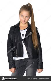 a teenage girl in a leather jacket and jeans the concept of youth fashion and style of clothes isolated on white background photo by lotosfoto1