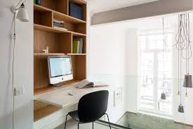 view in gallery contemporary office area with a fold down desk