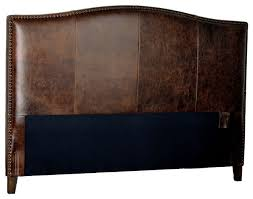 leather headboard with distressed nailheads antique brown king