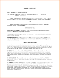 Lease Contract Sample Lease Contract Template Philippines Templates Resume Examples