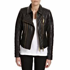 infinity black quilted gold zip leather biker jacket