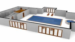 3d swimming pool floor plan with motion spline