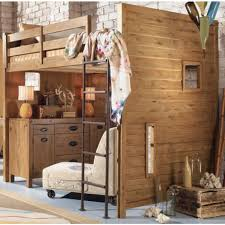 image of full size wood loft bed brown