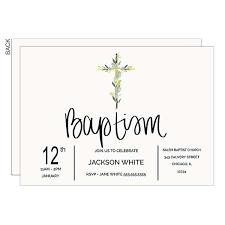 baptism botanical cross personalized invitations 22837
