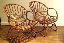 Bamboo Rattan Chair Antique Furniture Wicker Rocking Ca Vintage