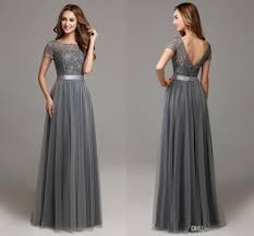 2016 Grey Long Modest Lace Tulle Floor Length Women Bridesmaid