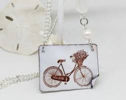 bicycle photo on enameled copper necklace