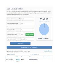 Sample Car Loan Calculator Template 8 Free Documents