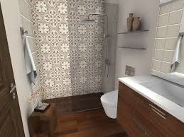 bathroom with wood floor curbless shower
