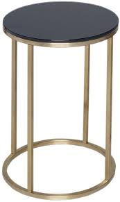 westminster black glass side table round with brass base