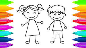 Small Picture How To Draw Kids Girl and Boy Learning Coloring Pages for
