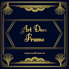 golden ornamental frame in art deco style