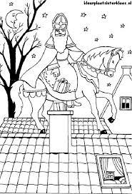 Sinterklaas En Paard Op Het Dak Kleurplaat Sinterklaas