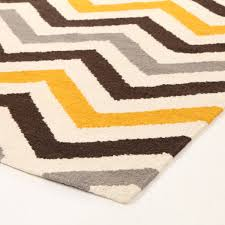 brown gray yellow chevron wool rug for awesome living room floor design