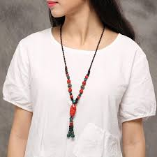ethnic ceramic beads tassel pendant necklace ethnic adjustable long necklace for women cod
