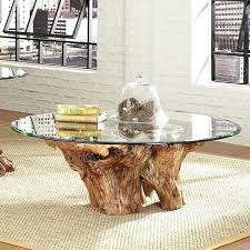 tree trunk coffee table pertaining to union rustic root ball reviews plan glass with base