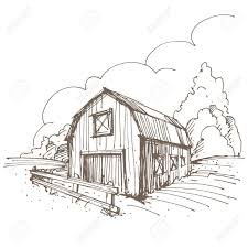 farm fence drawing. Farm Barn Drawing Hand Drawn Illustration Of A Farm. Royalty Free Cliparts, Vectors Fence