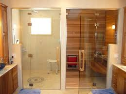 glass door wall and transom installation for shower room and sauna