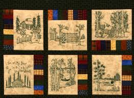 Northwoods Memories Quilt Pattern 12 Redwork Hand Embroidery & 🔎zoom Adamdwight.com