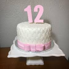 Tufted Simple White And Pink Birthday Cake For 12 Year Old