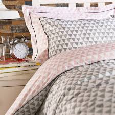 wallis young aztec double duvet cover set pink grey