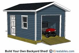 N 12x16 Shed With Garage Door Plans