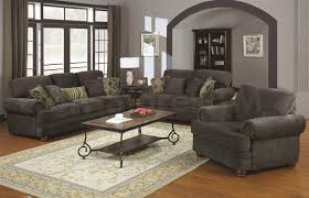 ... Living Room, Colton Smokey Grey Chenille Upholstered Traditional Sofa  Set Rustic Living Room Ideas On ...