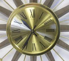 lot 20 vintage elgin starburst sunburst gold wood grain wall clock