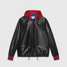 gucci leather jacket. leather bomber jacket with nylon hood gucci