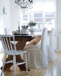 henriksdal chair cover long with frills loose fit country dining rooms
