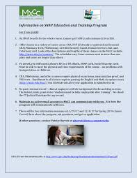 information sheet on the mxcc snap education and training program middle munity college middletown ct