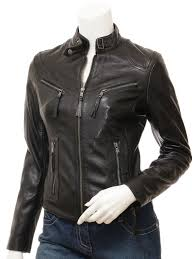 women s black leather biker jacket corinth front