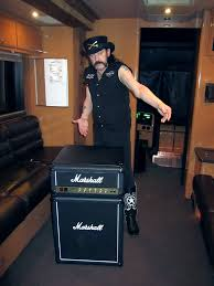 Lemmy with Marshall Fridge on Tour Bus