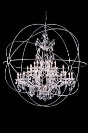 urban classic 25 light 60 polished nickel iron extra large orb crystal chandelier