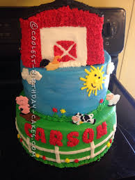 Cool 3 Tier Farm Cake For A First Birthday