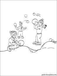 Kleurplaat Spelen Met Sneeuwballen Gratis Kleurplaten