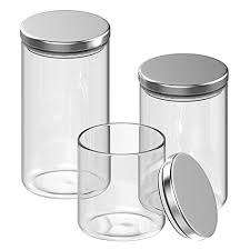 inmount 3 piece canister set multi size round clear glass stainless steel lid sealed bottle large airtight borosilicate jars for storage suger tea coffee
